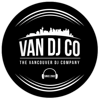 Black and white official logo for Vancouver DJ Company